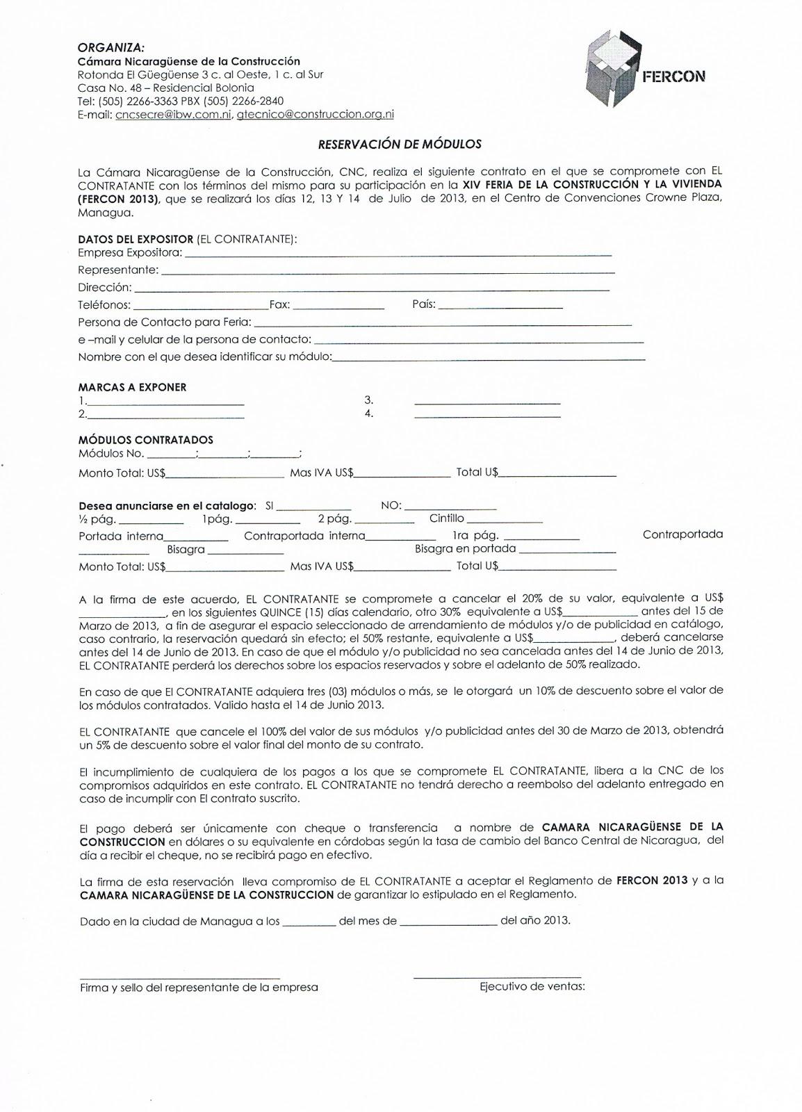 Xiv feria de la construcci n y la vivienda 2013 como for Modelo contrato alquiler vivienda sencillo