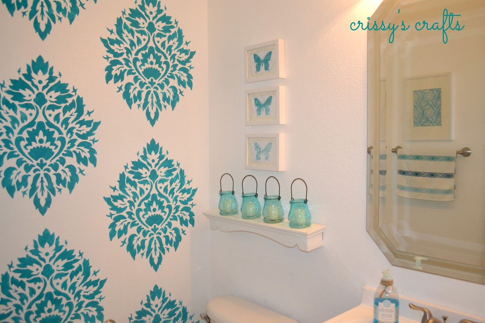 Crissys crafts powder room stenciled accent wall powder room stenciled accent wall amipublicfo Images