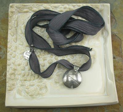 Cicada Silver:  Fine silver leaf veined lentil bead