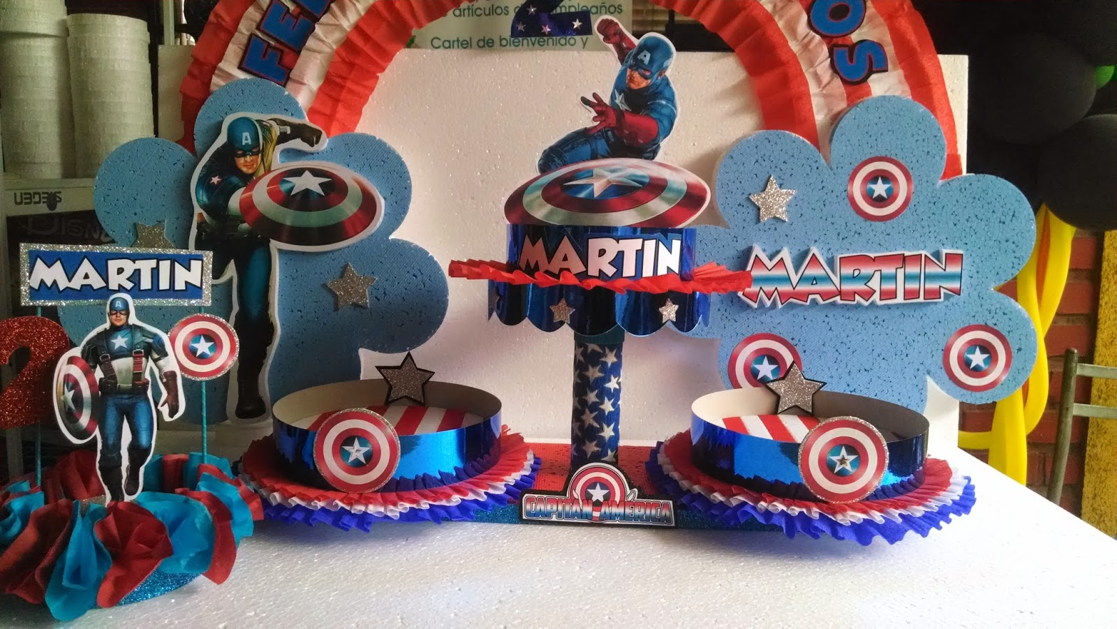 Decoracion de pared capitan america para fiestas - Decoraciones de paredes ...