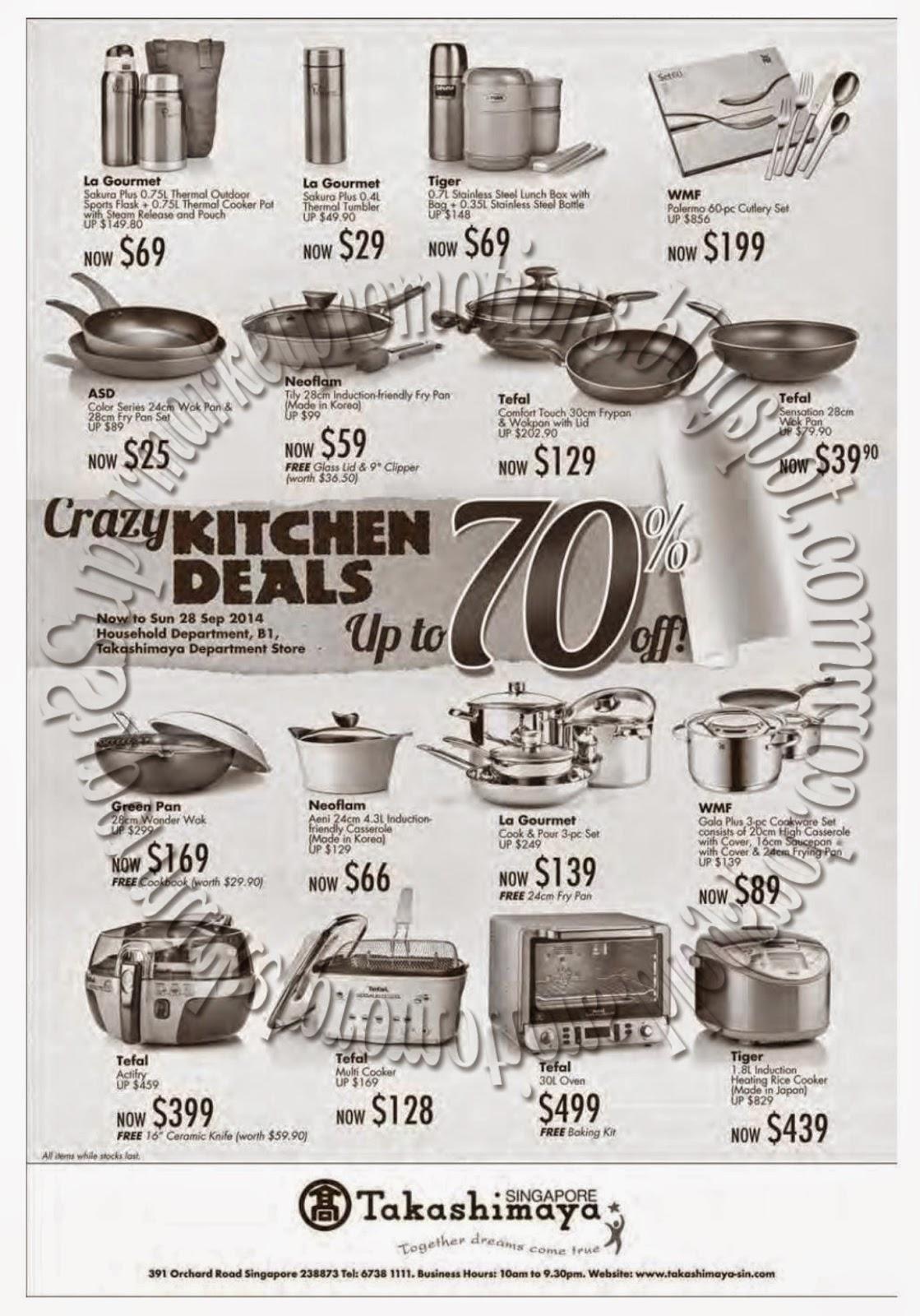 Takashimaya Crazy Kitchen Deals 12 September 2014
