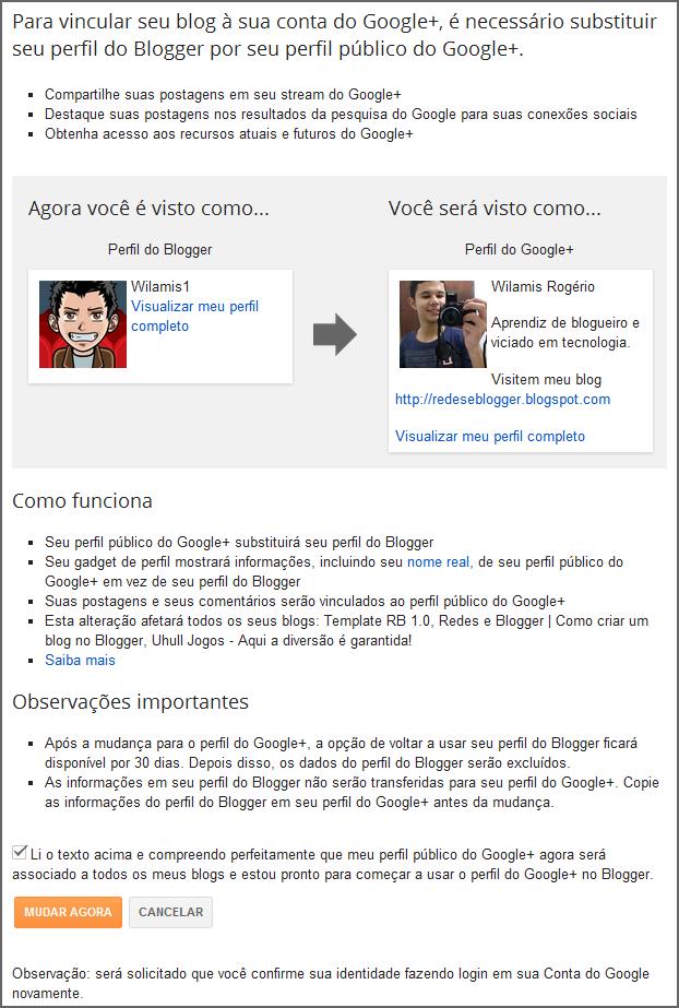 Conecte sua conta do Blogger ao Google+ - Passo 2
