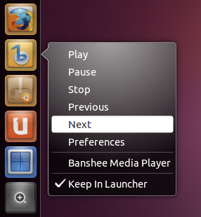 Banshee Quicklist Ubuntu 11.04