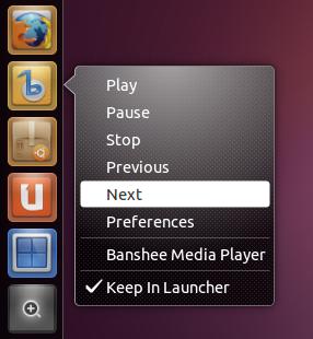 Banshee Quicklist Ubuntu 11.04
