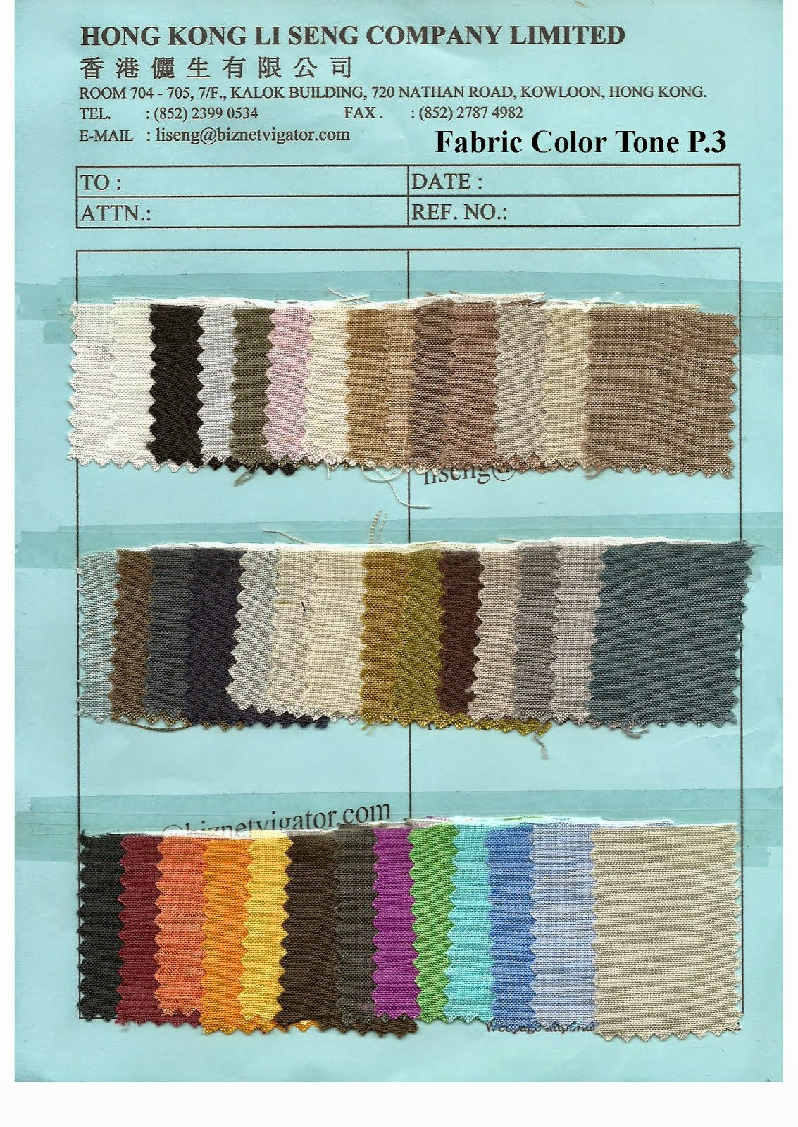 Fabric Color Tone P.3 - Hong Kong Li Seng Co Ltd