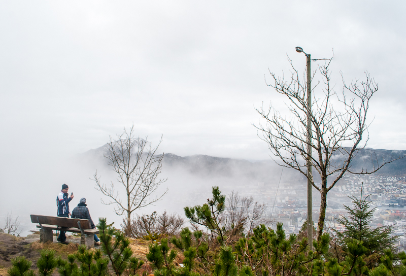 Thick cloud cover in bergen norway on mount floyen