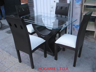 Muebles malcel comedores de 4 y 6 puestos en madera for Precios de comedores en vidrio