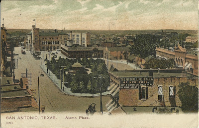 Alamo Plaza postcard, Undivided back