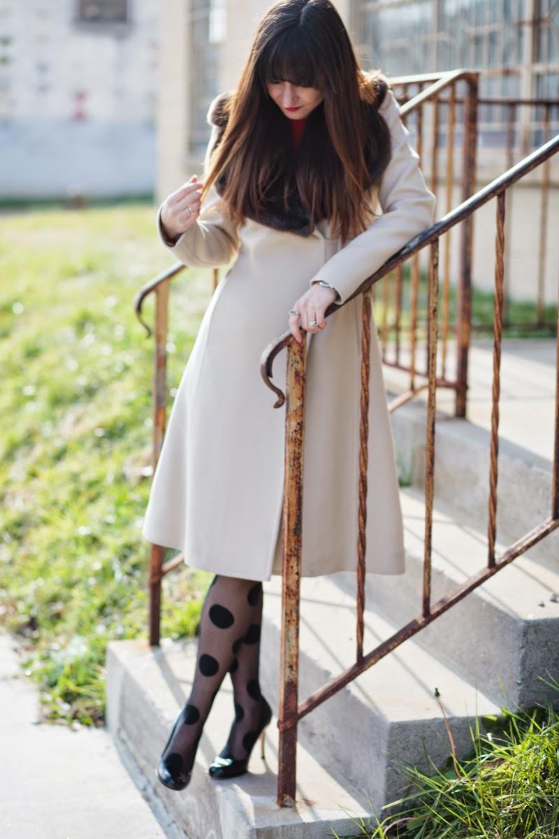 polka dot tights, leopard print coat, tan coat, red cocktail dress, kate spade cocktail dress, kate spade black heels, christmas cocktail dress, holiday dress