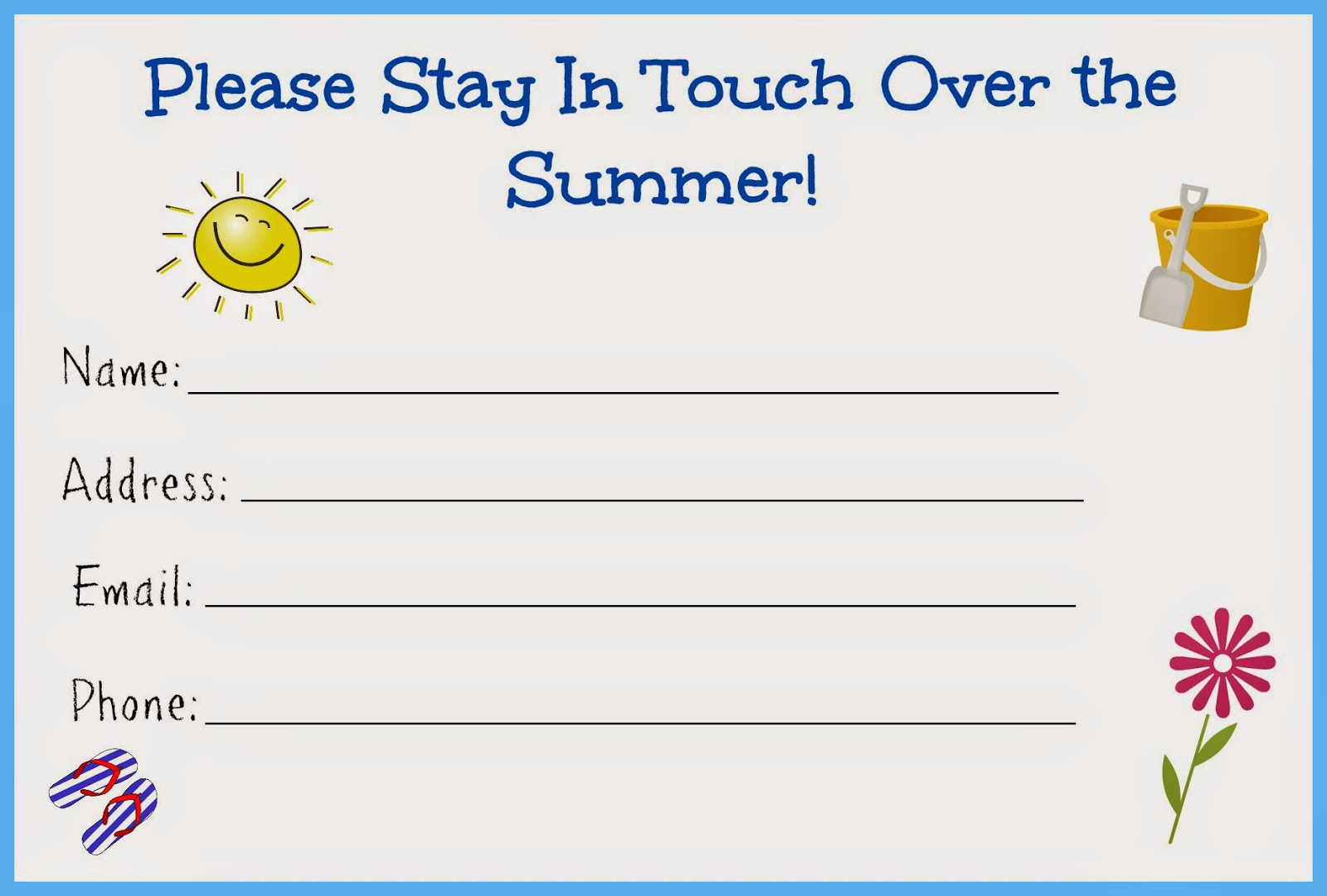 Stay in Touch Over the Summer Card for Kids - Free Printable.  Stay in touch cards.  Printable Stay in Touch over the summer card.