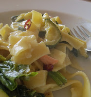 Tagliatelle mit Lachs, Spinat und Zucchini