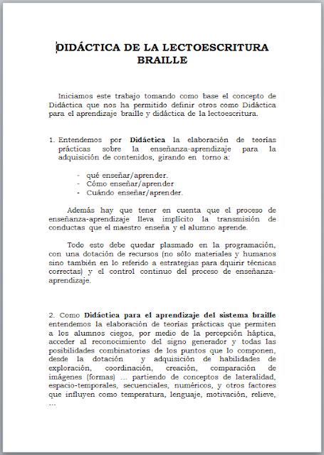 La imagen ofrece la primera página del documento relativo a la unidad didáctica en braille. Pinchando aquí se puede descargar.