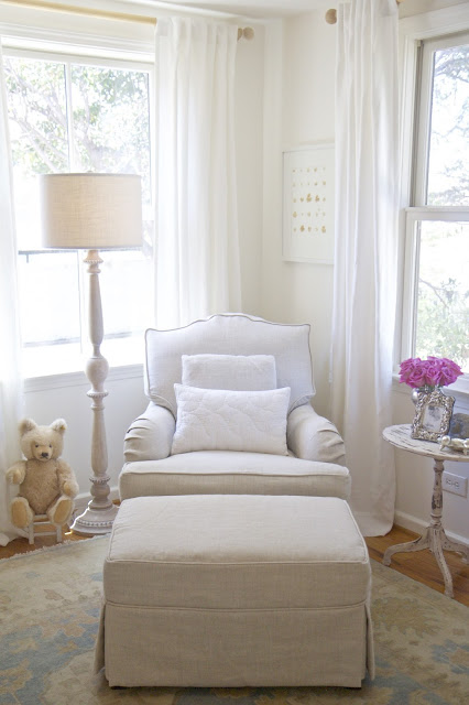 Linen glider and ottoman; Baby nursery; Nursery in the Nest; Nora's Nest
