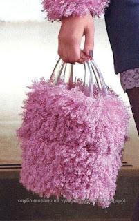 Вязаная сумка с мехом