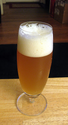 A glass of Riwaka hopped Hefe Weizen.