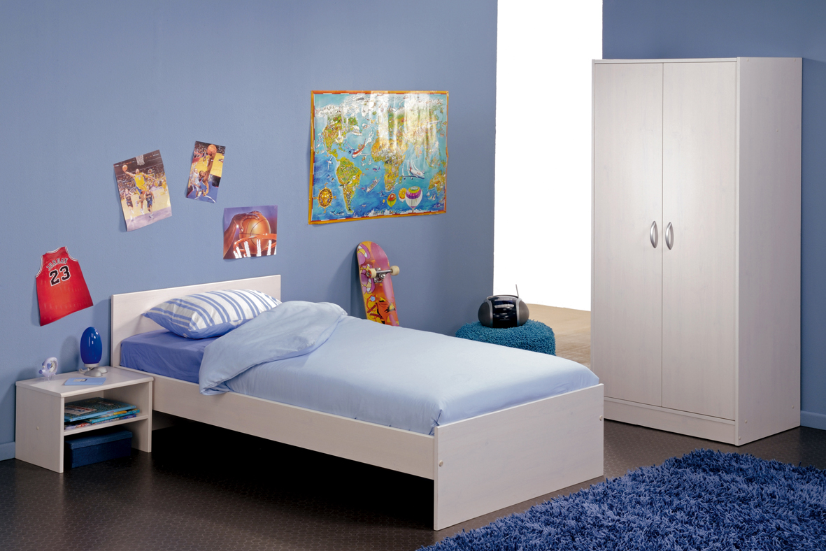 White Blue Bedroom Funiture Kids