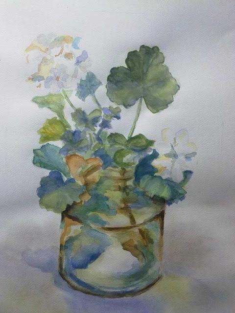 pintura de geranios en un bote de cristal