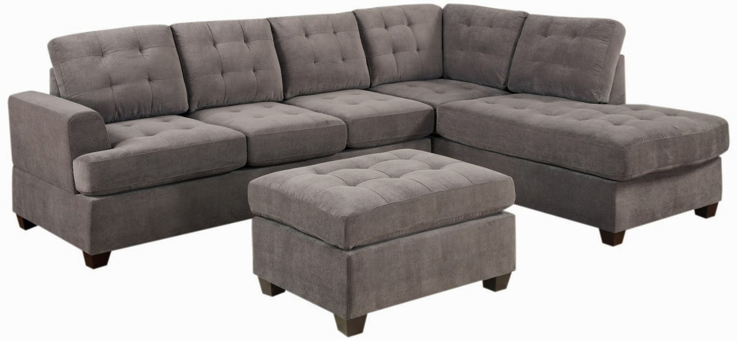 Grey couch grey microfiber couch for Black microfiber sectional sofa with chaise
