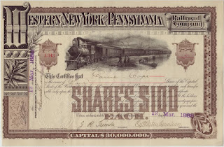 stock certificate of the Western New York and Pennsylvania Railroad Company