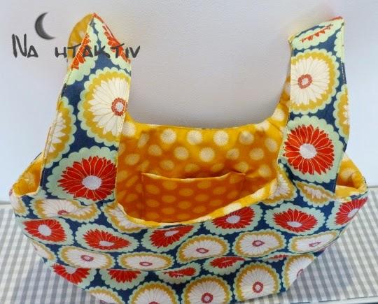 Art Gallery Fabrics Beutel Lieblingsteile selber nähen Riley Blake Tasche Henkel Innentasche Stoff Geschenk Badetasche Einkaufstasche Blumen Retro blau rot gelb mint nahtaktiv