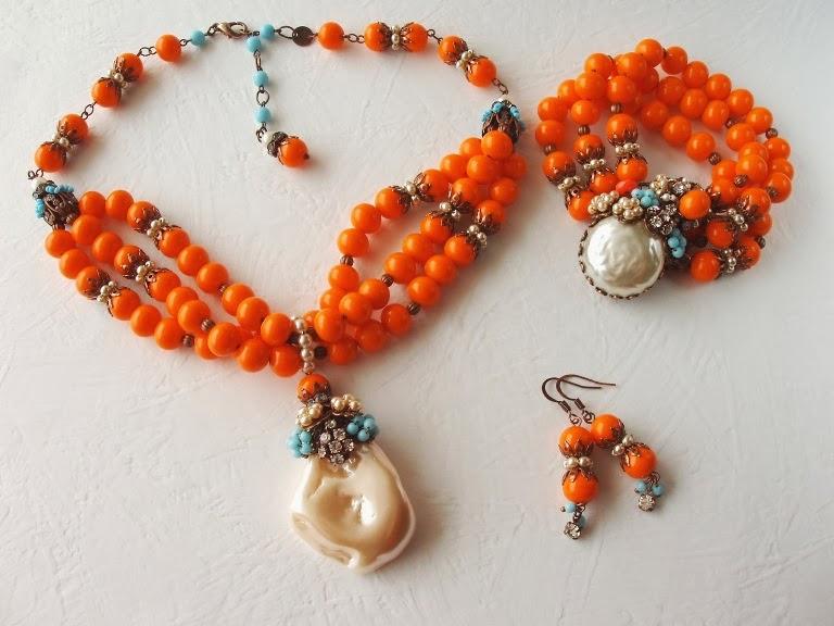 Bijoux Collier Bracelet perlen ancienne de verre crystal Halskette armband alte perlen glas steine