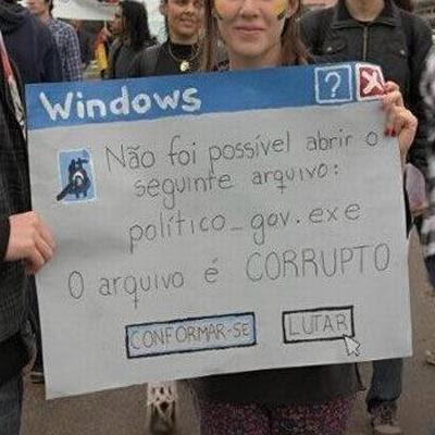 Cartaz protesta contra a corrupção usando formato de janela de erro do Windows.