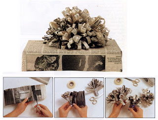 gift wrapping with newspaper