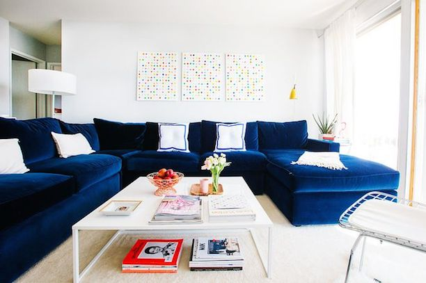 via : navy velvet sectional - Sectionals, Sofas & Couches