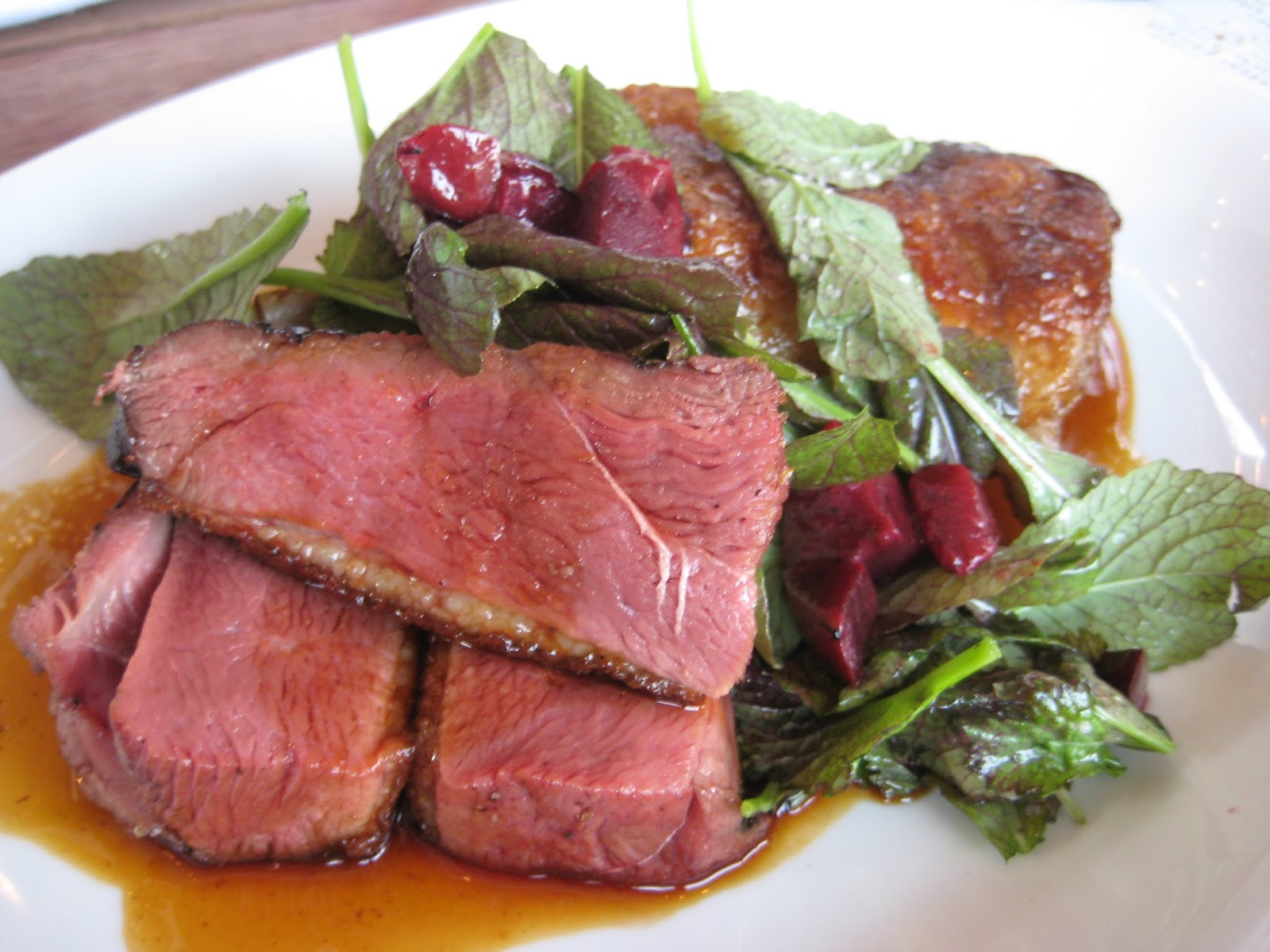 Beef curtains - Roast Pekin Duck Crispy Leg Spit Roasted Breast Red Mustard Greens Plums This Was The Real Winner On This Visit Generous Amount Of Duck And Spot On