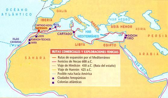 Resultado de imagen de RUTAS COMERCIALES FENICIAS