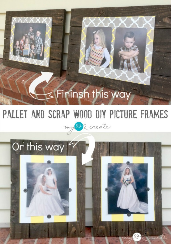 Make some rustic and unique DIY picture frames from pallet and scrap wood.  Easy to make and customize to fit your decor needs!