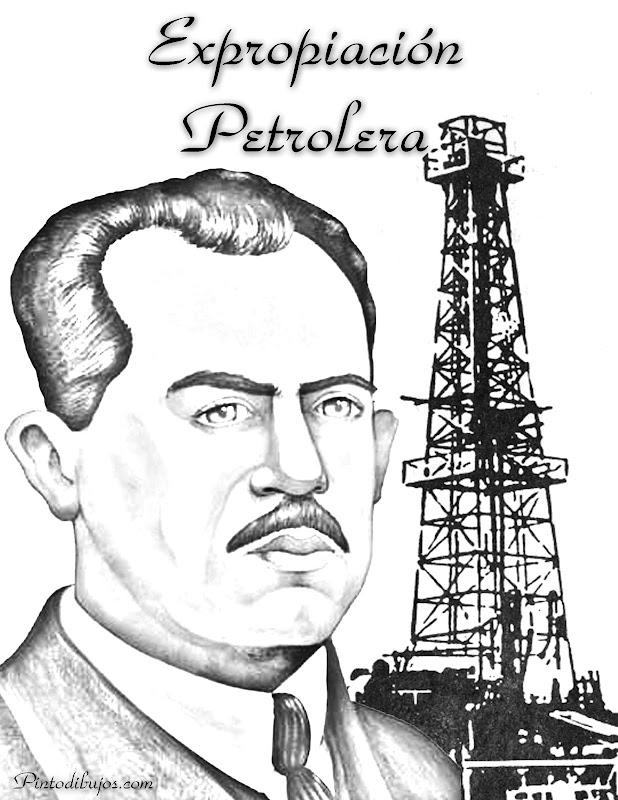 Lázaro Cárdenas para colorear, expropiación petrolera para colorear, 18 de marzo para colorear