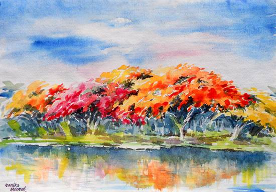 Tree Scape, painting by Sanika Dhanorkar ( part of her portfolio on www.indiaart.com )