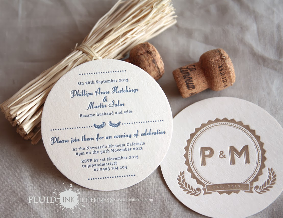 Fluid Ink Fine Letterpress of Australia: Monogram Coaster ...