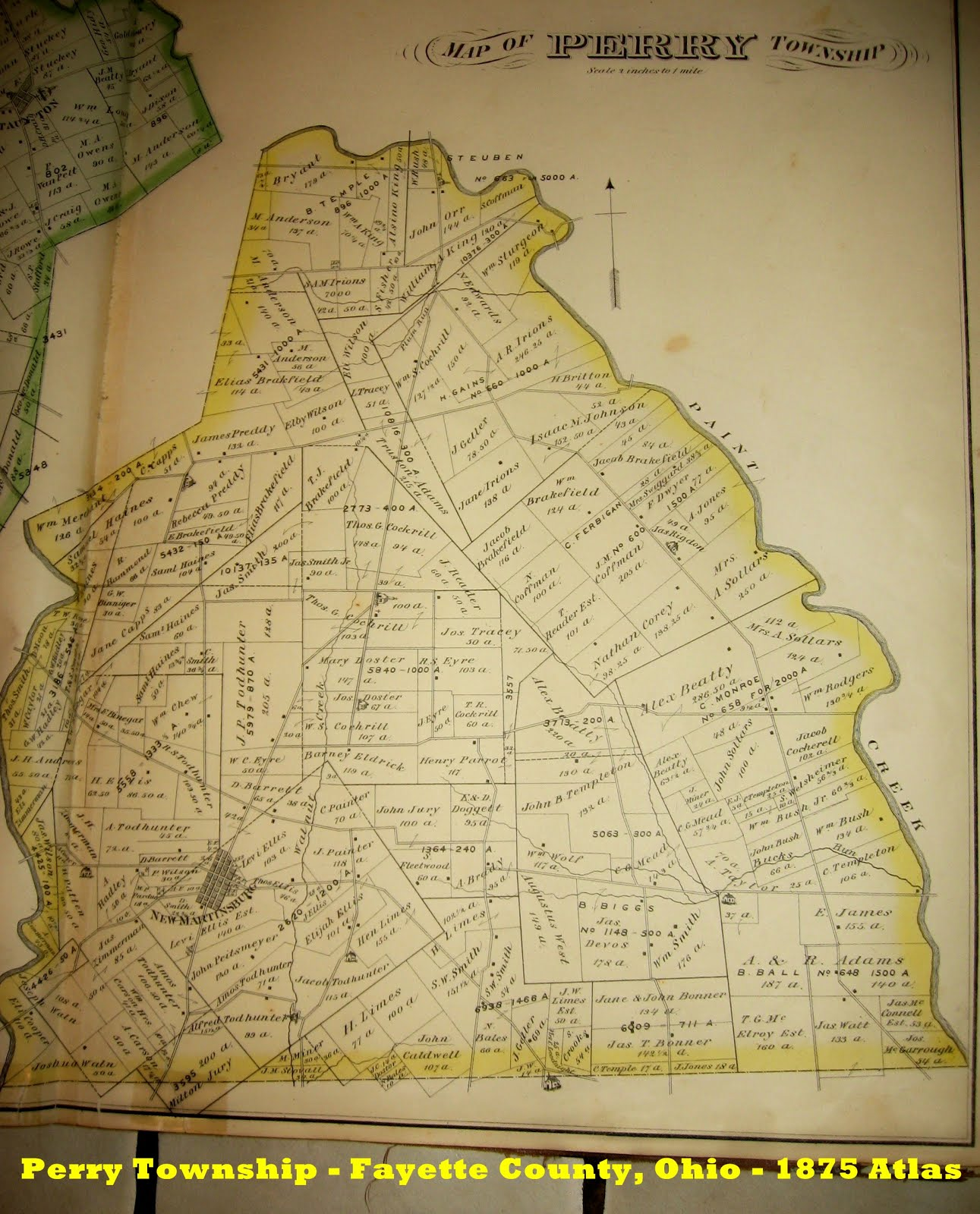 1875 Partial Lower Portion - Perry Township, Fayette County, Ohio Map