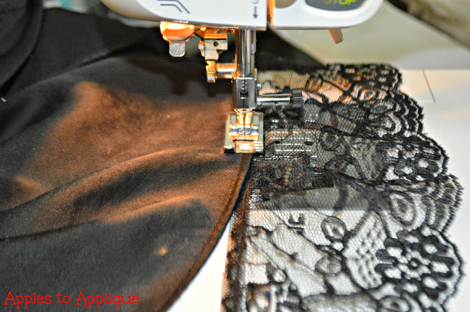 How to Lengthen a Shirt with Lace | Apples to Applique #sewing #tutorial #DIY #fashion