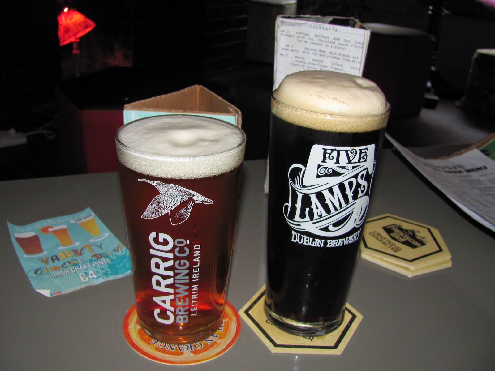 Carrig IPA and Five Lamps Porter at Beerhouse Dublin