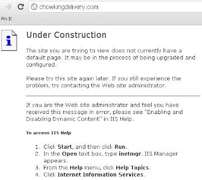 Chowking delivery website is under construction