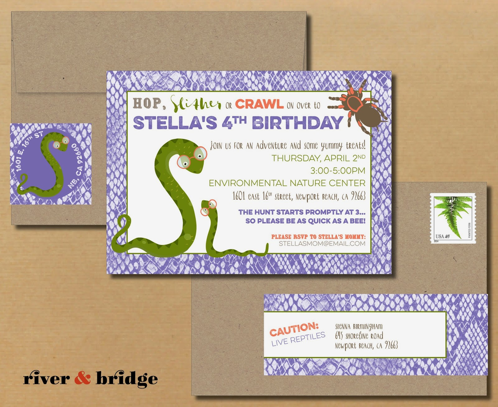 river bridge – Reptile Invitations Birthday