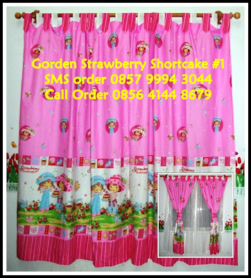 Gorden Kamar Anak Motif Kartun STRAWBERRY SHORTCAKE