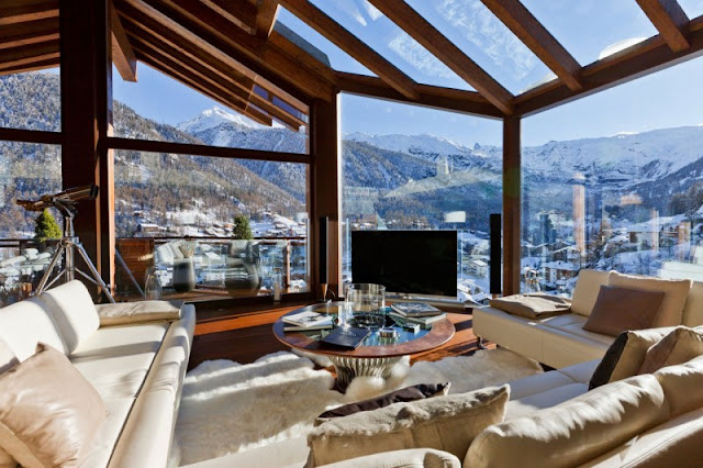 Picture of modern living room with mountain views