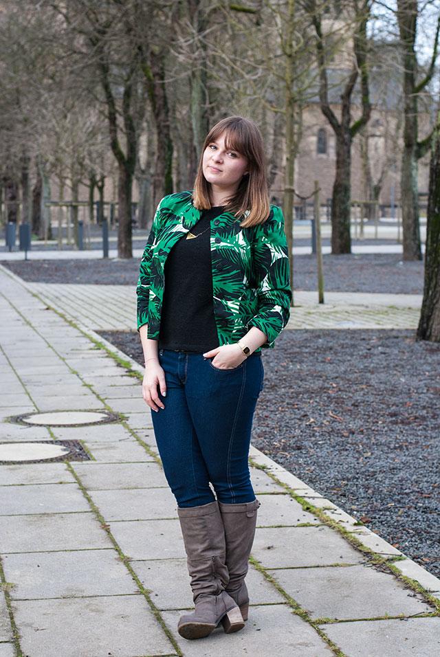 zara jungle tropical print blazer green