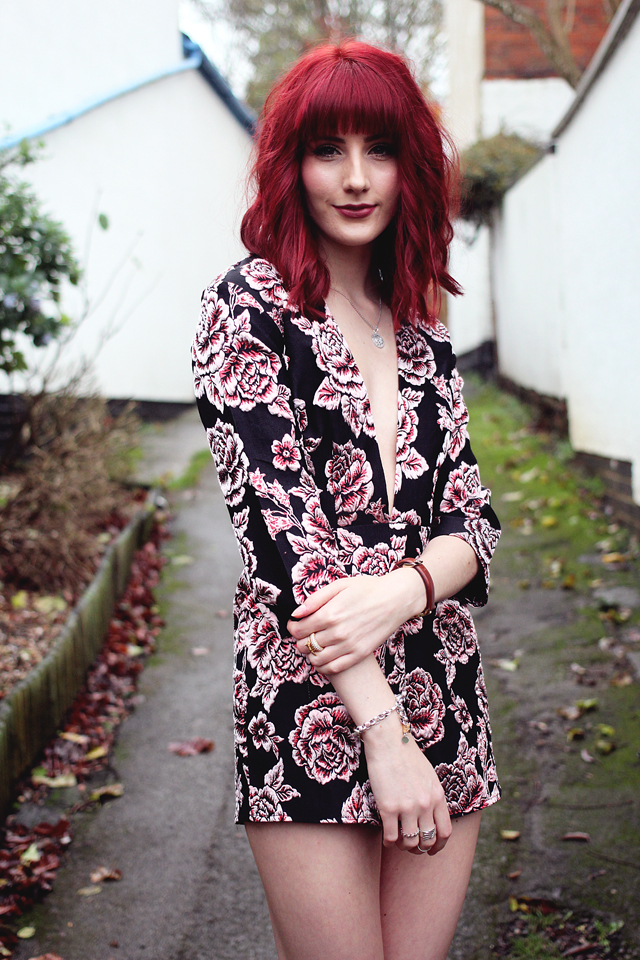 A personal style post on the Missguided Go Hard Christmas Party Blog Post. Featuring their stunning rose playsuit.