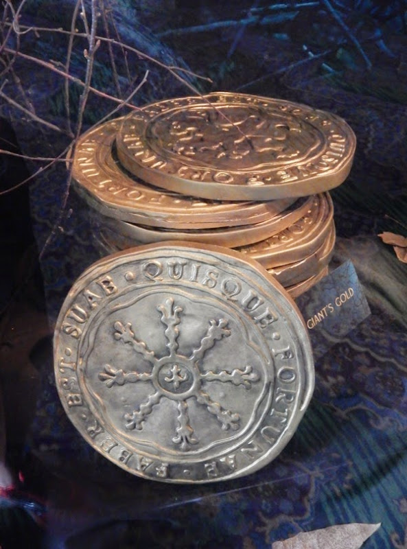 Into the Woods giant gold coin props