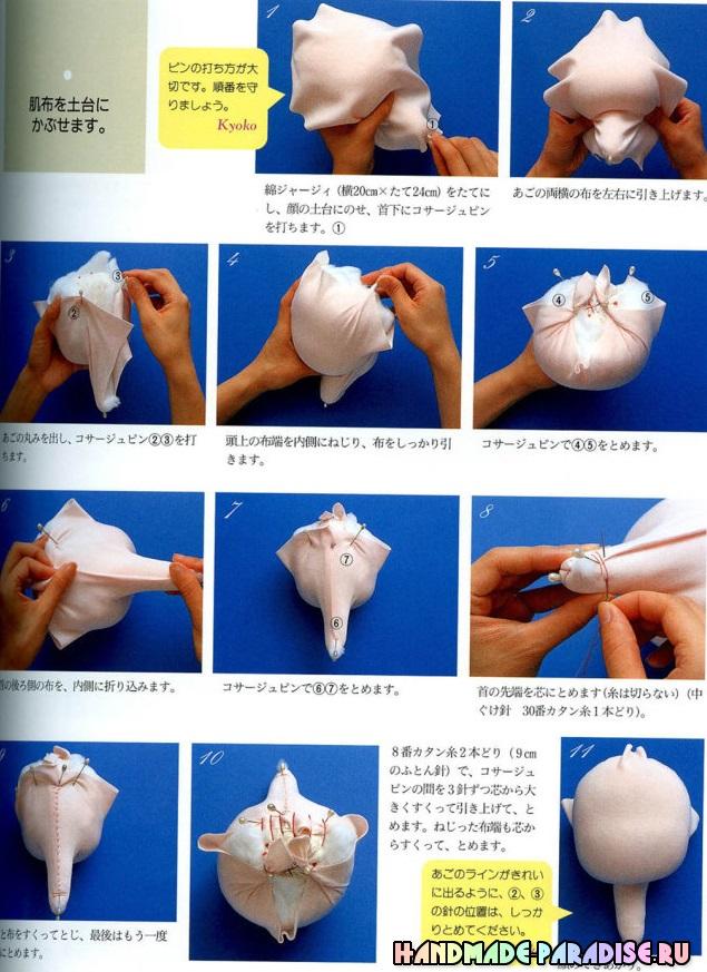 Как сшить текстильную куклу