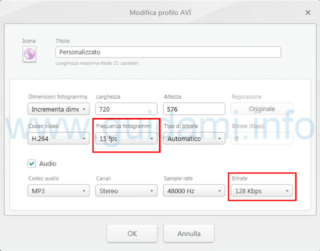 Modifica profilo conversione Freemake Video Converter