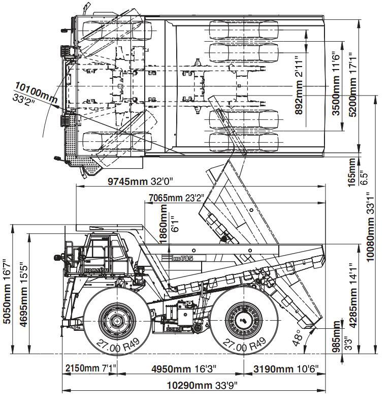 komatsu dump truck 785