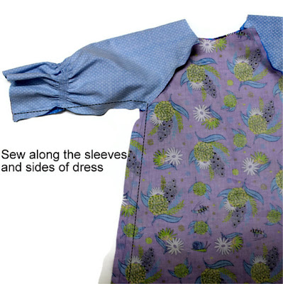 sew along the sleeves and sides of the dress