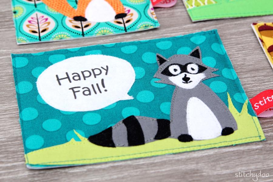 stitchydoo: Stoffkartentausch | Meine genähten Karten im Oktober - Waschbär, Happy Fall!