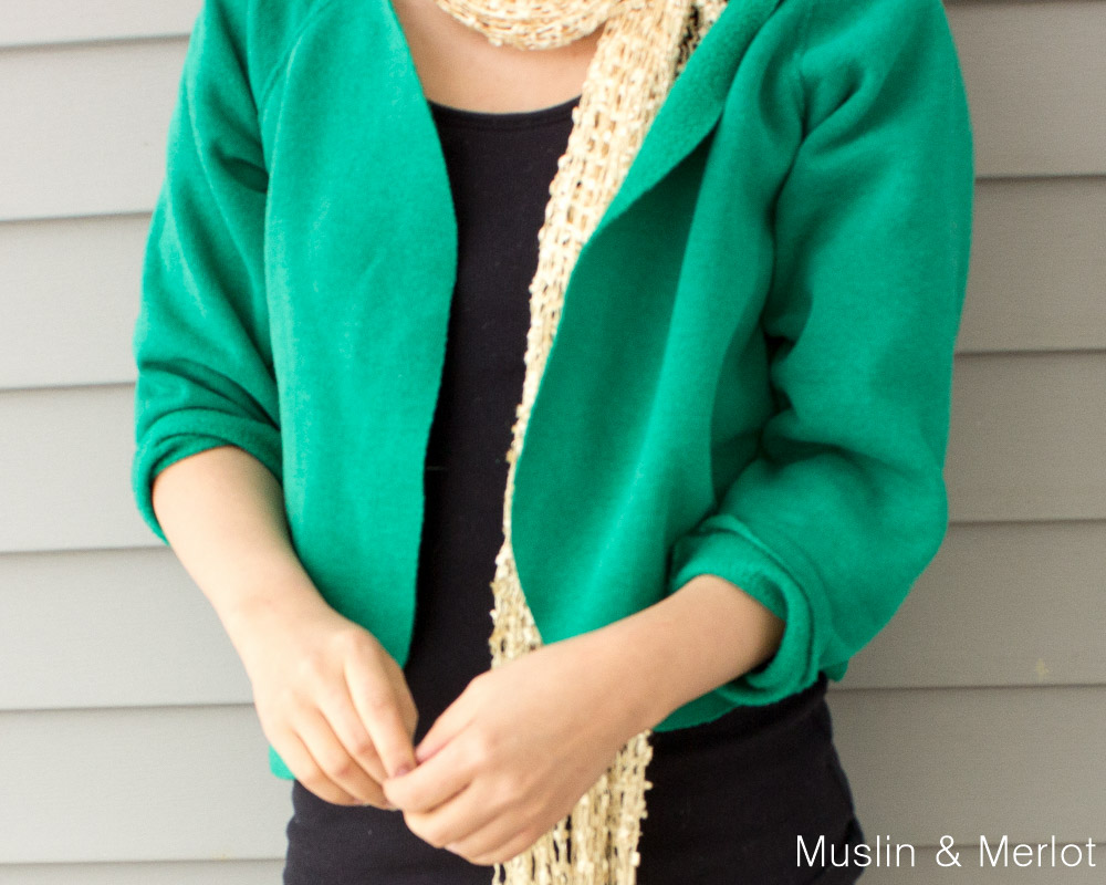 Sweatshirt To Cardigan Re Fashion No Sew Muslin And